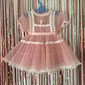 Vintage 1950s Sheer Pink Frilly Poofy Party Dress